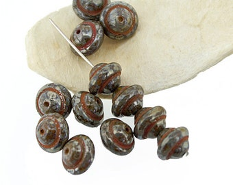 Brown Picasso Saturn Saucer 8x10mm Czech Glass Beads x 10