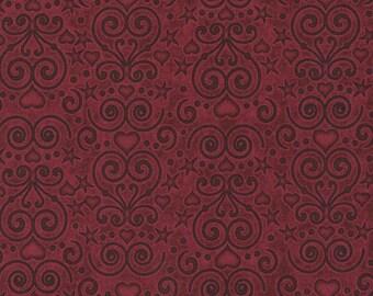 RJR Fabrics Healing Hearts 2113 05 Scroll Burgundy Yardage by Dan Morris