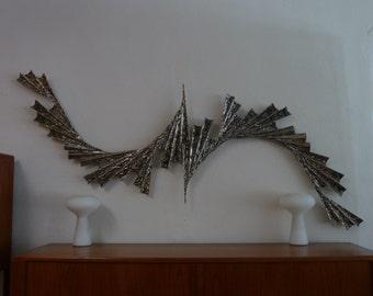 Two Piece Brutalist Sculpture Mid Century Modern Wall Art Industrial Avant Garde Metal Art