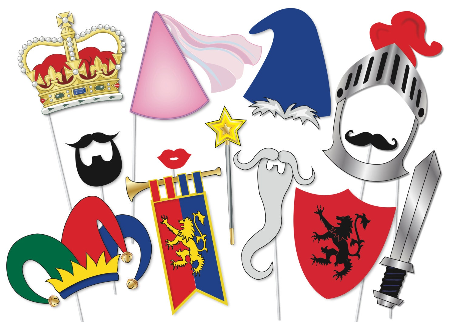 knights and maidens photo booth party props set 14 piece