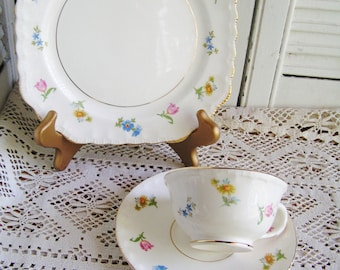 Vintage Pope Gosser Fine China Dessert or Luncheon Set Teacup Saucer and Plate in Revere Pattern Dainty Flowers Floral Tea Party