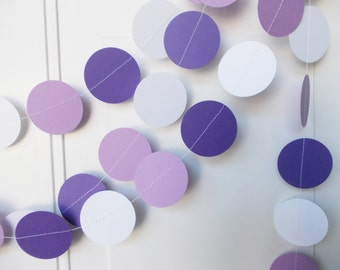 Party Paper Garland, Lavender Purple & White, Party Decoration, All Occasion, Birthday Party, Baby Shower, 12' Circles