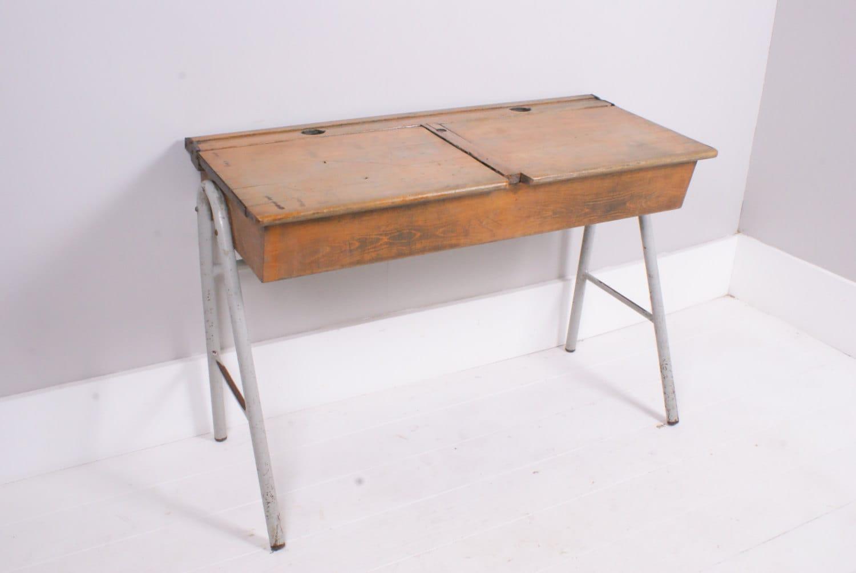 Children S Vintage Double School Desk With Lids Children S Furniture Haut