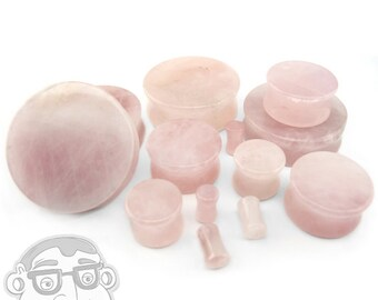 """Rose Quartz Stone Plugs - Double Flare (6G - 1 & 1/4"""" Inch) Sold In Pairs - New!"""