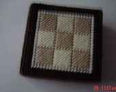 Shades of brown plastic canvas coasters gift OOAKHandmade Coasters