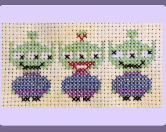Green Alien Cross Stitch Pattern (Instant Download)