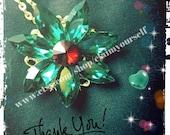 Together In Paris Anastasia Necklace Replica Fox 1997 Swarovski Crystal Gems Emerald + Ruby Handmade