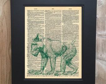Cool Baboon art print on Upcycled vintage Dictionary page #0062