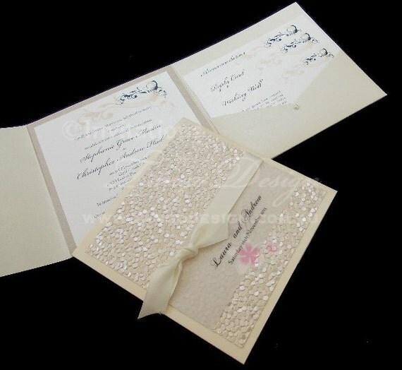 Pocket Fold Wedding Invitations Handmade Invitation SAMPLE Embossed Card