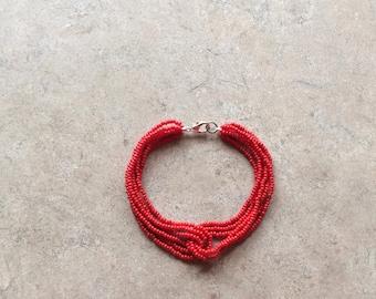 Seven inch handmade loop seed beaded bracelet.