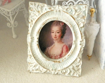 antique  miniature portrait of French lady- 1/12 scale