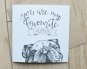 Bulldog Fathers day card, cute English bulldog card for anniversaries, bulldog birthday card, bulldog card, bullie Lover