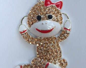 42mm Sock Monkey Bow Rhinestone Pendant Chunky Necklace Beads