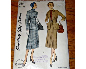 RARE Vintage 1940s Fashion Pattern Simplicity Ladies Suit Pattern 40s 50s Sewing Pattern Womens 2 Piece Skirt & Jacket Eatons T Eaton Co Can