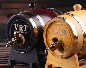 Set of 5 --- 1.5 L Personalized Whiskey Barrel Unique Groomsmen, Men's Christmas, Man Cave Gift