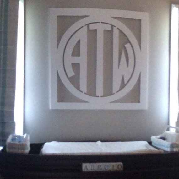 Initial Home Decor: EXTRA LARGE Wooden Monogram Wall Decor Circle Monogram