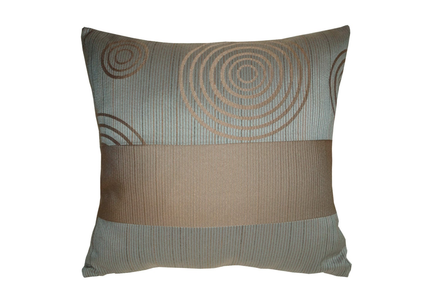 Steel Blue Throw Pillows : Brown circles Steel blue Stripe Decorative Throw Pillow