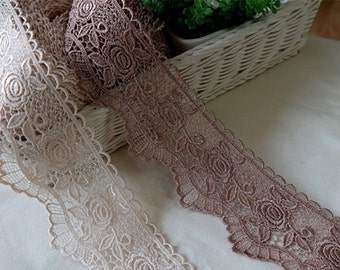 "1yard Embroidery scalloped eyelet venice lace trim 3""(7.5cm) YH988 laceking2013"
