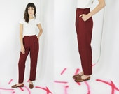 vtg 70s LEVI'S trousers red high waisted slacks minimalist maroon pants closet staple 26 inch waist SMALL Sm S