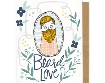 Beard Love, Beard Card Valentine's Day card, Anniversary Gift, Anniversary Card, Valentines Gift, Love Card, Happy Anniversary, For Hubby