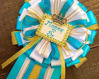 Turquoise blue and gold mommy to be pin-turquoise and gold Baby shower - turquoise mommy to be corsage- boy baby shower-Mommy to be corsage