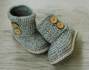 NOEL Gray Beige Cotton-Merino Wool Crochet Baby Boots with Coconut buttons,Natural Baby Shoes,Fall Winter Baby,Made to Order