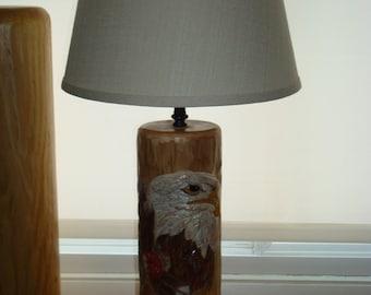 Hand carved Eagle log lamp