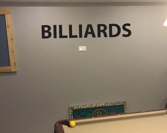 BILLIARDS Wall Decal, Pool Table Decor Ideas