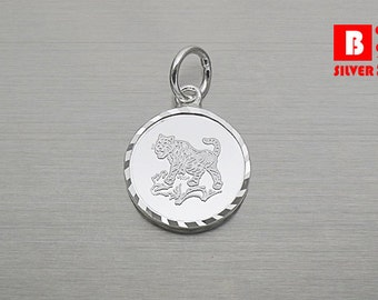 925 Sterling Silver Pendant, Chinese Zodiac Year of the Tiger Pendant, Brave Pendant (Code : N9C3)