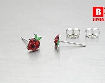 925 Sterling Silver Earrings, Strawberry Earrings, Crystal Earrings, Fruit Earrings, Stud Earrings (Code : EC16)