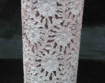 Hand Made crafted Natural gorara stone flower vase or tea light candle holder very intricate screen work marble handicrafts