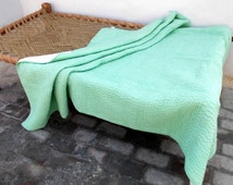 Mint quilted bedspread, stripe pattern, cotton kantha quilt, 100% cotton, 60X90 inches