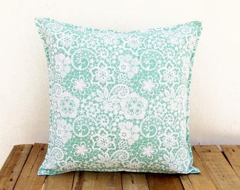 Mint throw pillow cover, lace print, cotton pillow, sizes available.