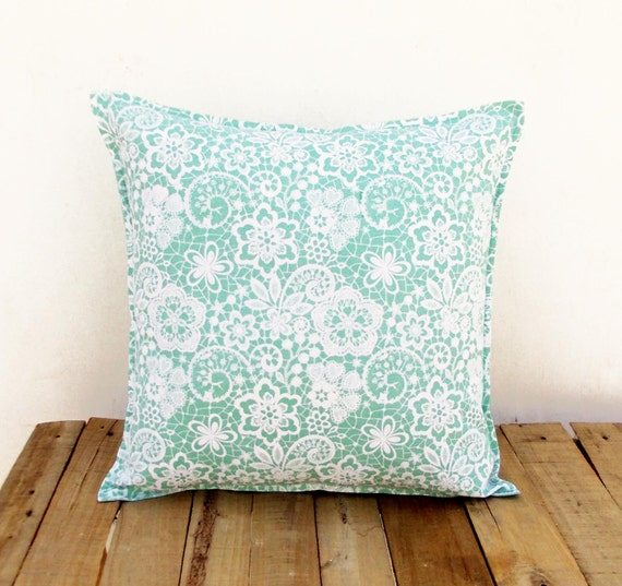Throw Pillows With Lace : Mint throw pillow cover lace print cotton pillow sizes