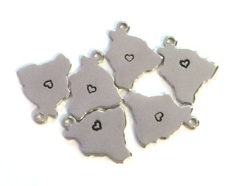 2x Silver Plated Hawaii State Charms w/ Hearts - M070/H-HI