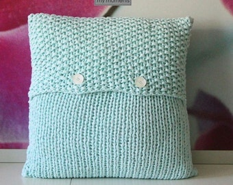 Chunky knit PILLOW pastell mint