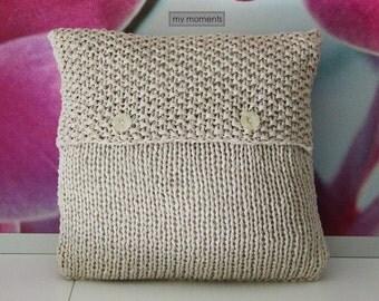 Chunky knit PILLOW light beige