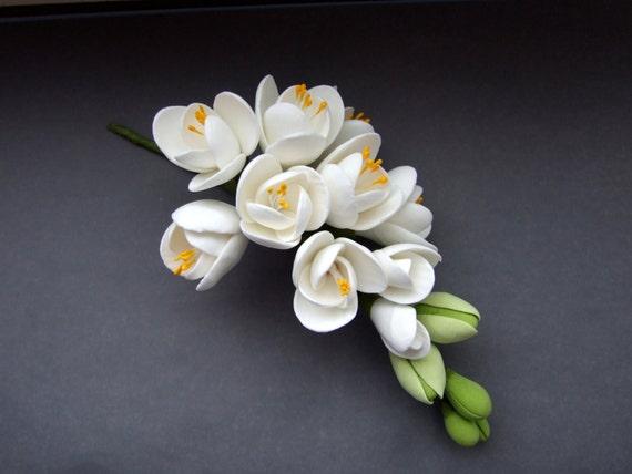 Hair flowers, hair decoration, hair accessories, made of air dry clay, white freesia