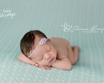 Petite Rosettes Headband in Lavender, Baby Headband, Newborn Headband, Simple Headband, Newborn Photo Prop
