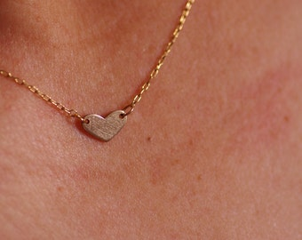 handmade 14K gold filled tiny heart necklace, original,unique,Exclusive