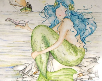Mermaid art print. Pearl, from an original painting by Annie Taylor