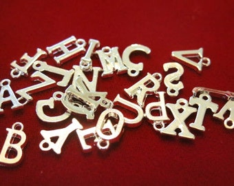 "26pc ""alphabet letter set"" charms in antique silver style (BC452)"