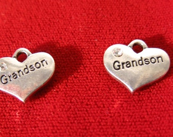 "5pc ""Grandson"" charms in antique silver style (BC730)"