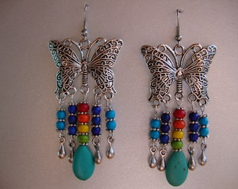 Butterfly, dangle earrings, butterfly earrings, rainbow, howlite beads, hippie, colorful earrings, long earrings