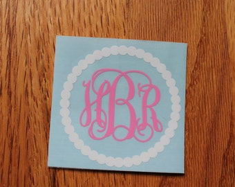 Two-Color Scalloped Pearl Vinyl Monogram Sticker, monogram car decal