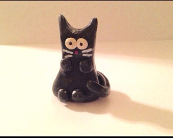 Cute Mini Black Polymer Clay Cat Figurine