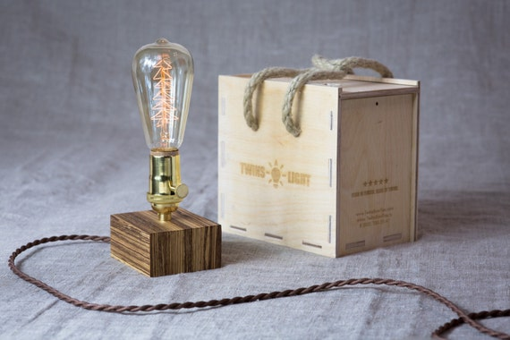 Handmade Edison wood desk lamp with vintage XMAS bulb, Polished Brass socket with a built in rotary switch. Zebrano wood. Dimmer inside.