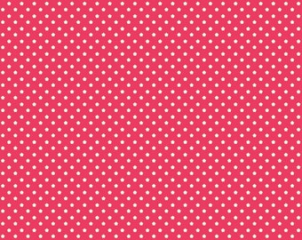 FLUTTERBERRY By MELLY & ME, Riley Blake Designer Fabric Collections, 1 Yard Spot in Red, Polka Dots Strawberries, Flowers