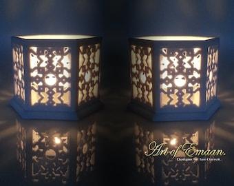 A pair of Islamic Geometric Lanterns. Moroccan Lantern. Original Tea light Candle holders 3D Printed in Sandstone.