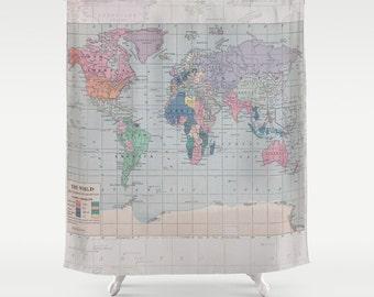 World Map Shower Curtain - Historical map - Fabric curtain, wanderlust, Home Decor - Bathroom - travel, blue, pastel, geography, boy's